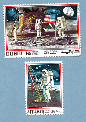 DUBAI stamps 1969. First Man on the Moon. 2 stamps
