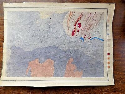 1850 Geological Survey Montgomery Handcoloured H Beasley? Shrops Old Antique Map