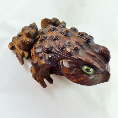 ANTIQUE JAPANESE cryptomeria TOAD / FROG treen vintage glass eyes
