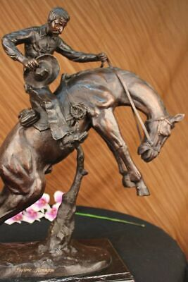 Western Art Old School Brown Patina Hand Made Bronco Buster Bronze Sculpture