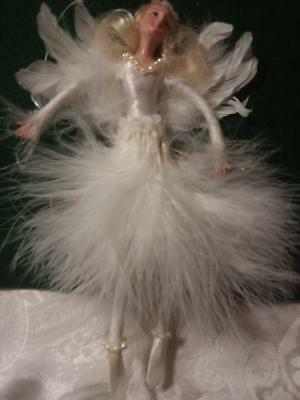 All White Fairy Christmas Ornament with Feathers  #4