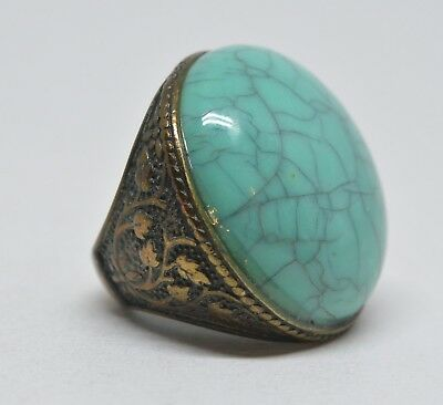 Vintage Large Brass Ring With Faux Turquoise