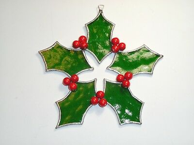 Stained Glass Christmas Holly and Berries (A)