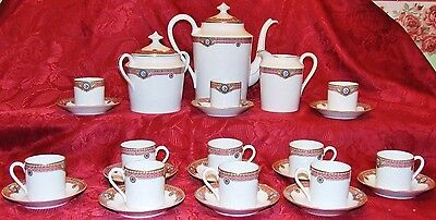 Porcelaine De Limoges Legrand Service A Cafe  Ancien 10 Tasses Style Empire