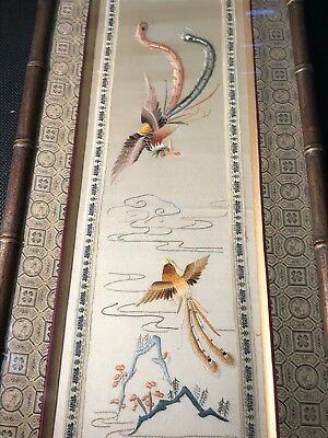 """643b- 19"""" x 24"""" Antique Large hand sewn small Tapestry Birds vintage asian?"""