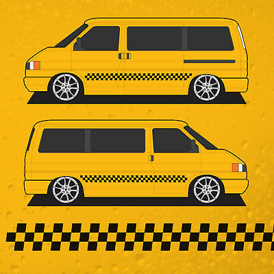NYC Taxi Chequered Side Stripes - to fit VW T4 Transporter Campervan