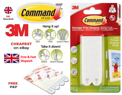 3M Command Large Strips Adhesive Damage Free 'DO NO DAMAGE' Poster Fixings CHEAP
