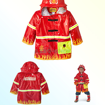 6502a3d56 Kidorable Red Fireman All-Weather Raincoat for Boys w/Fun Flames, Chief  Badge