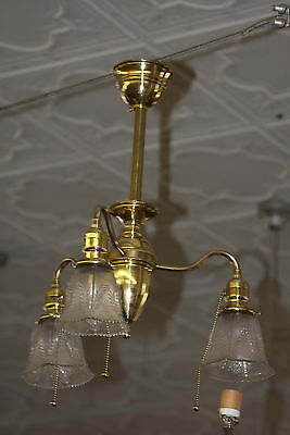 Antique Art Deco  3 Arm Polished Brass Ceiling Light Fixture W Shades