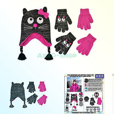 63ca998e ABG Accessories Assorted Critter Designs Hat and 2 Pair Gloves or Mittens  Col.