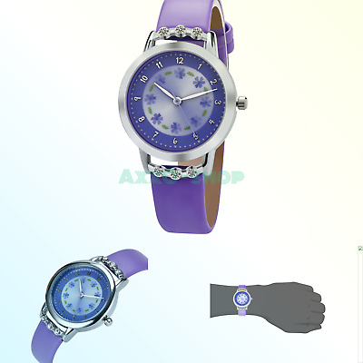 203ad1c41 DOVODA Girl Watches Easy Reader Time Teacher Leather Band Kids Watch 1Purple