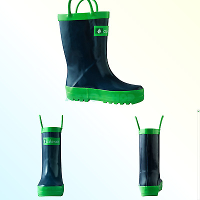 e05ffe608552f OAKI KIDS WATERPROOF Rubber Rain Boots with Easy-On Handles Navy ...