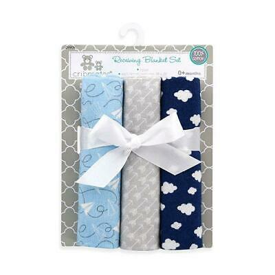 Cribmates Baby Boys 3 Pack Flannel Printed Receiving Blankets Nursery Baby Gifts