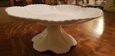 "Rare SHELLEY ""DAINTY WHITE"" comport/tazza Footed Cake Plate/stand Immaculate"