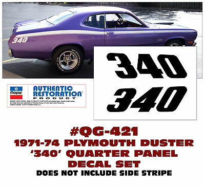 GE-QG-398 /& 400 1971 PLYMOUTH DUSTER 340 SIDE /& TAIL PANEL STRIPE CONNECTED