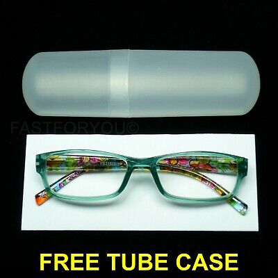 abb81cfdea2d Reading glasses tube case spring temple hinge new frame clear lens with in  new