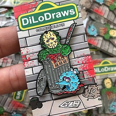 Friday the 13th Oscar the Grouch Horror Pin Custom Collectible Horror Enamel Pin