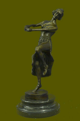 Bronze Sculpture Statue Nude Young Woman Female Girl Nymph Marble Figurine Art