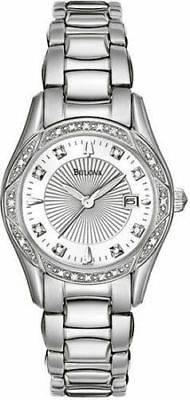 Bulova 96R133 Diamond Accented Mother-of-Pearl Dial Silver Tone Women's Watch