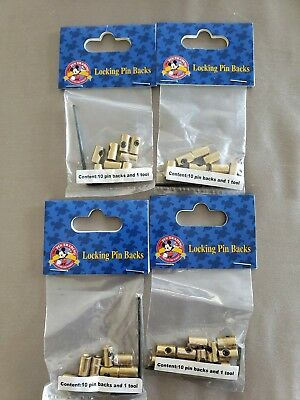 "Disney Lot Of 4 Pack of ""Brass"" Locking Trading Pin Backs with Key (NEW) 40pcs"