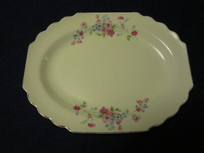 """Vintage W S George Lido Canarytone Pink Flowers Oval Serving Platter Tray 13.25"""""""
