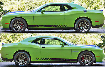 2x dodge challenger side skirt vinyl decals graphics rally stripe