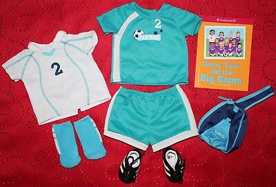 American Girl Doll SOCCER OUTFIT 2 in 1 Teal / Blue Cleats, Bag, Book, Socks