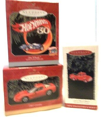 Hallmark Ornaments 1995 Ford Truck 1956,1997 Corvette, 1998 Hot Wheels-Lot 3-New