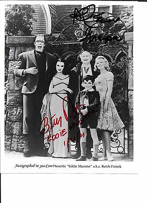 The Munsters 8x10 BW glossy cast photo signed / autographed in-person by 2