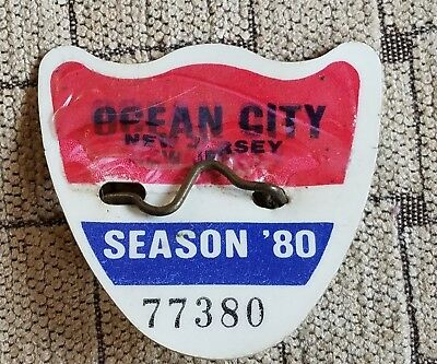 1980 Ocean City Nj Seasonal Beach Tag Badge