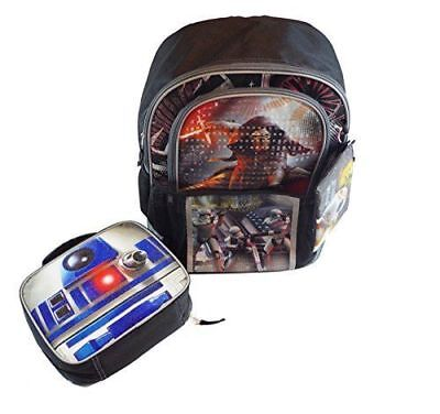 """Star Wars Backpack 16"""" With Lunch Box and Bonus Pencil Case Featuring 5 Graphic"""