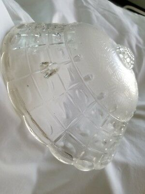 Vintage Art Nouveau Embossed Clear Glass 3 Chain Hanging Ceiling Light Shade