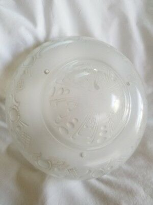 Vintage Art Nouveau Etched Frosted Glass 3 Chain Hanging Ceiling Light Shade