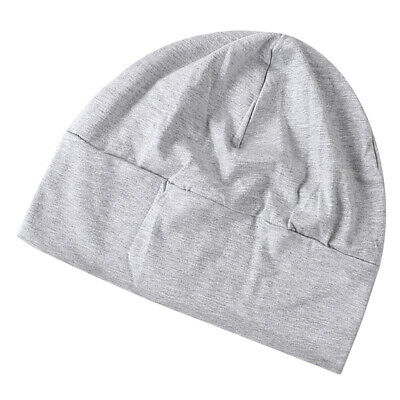 Unisex Adult Soft Cotton Night Cap Sleep Patch Head Cap Hat Cover Grey