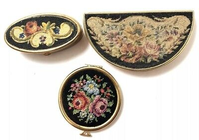 Group Of 3 Vintage Petit Point Floral Black, Gold Compacts
