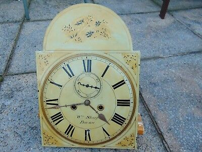 Antique Grandfather Longcase Clock Wm Sharp Bourne 1835 Enamelled Face Movement