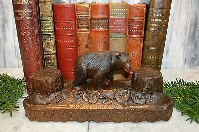 Antique French Black Forest Carved Wood Bear Dual Inkwell and Pen Tray Desk Set