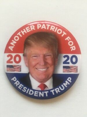 """2020 Re-Elect Another Patriot for President Donald Trump 2.25"""" Button Flag Pin"""