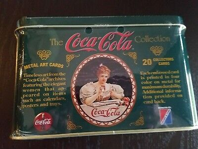 Coca-Cola Girl 1994 Metal Art 20 Collectors Cards In Unopened Tin Factory Sealed
