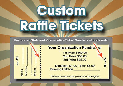 1000 raffle tickets custom printed numbered perforated card