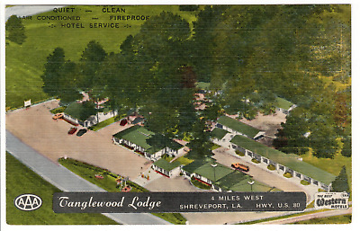 Vintage linen postcard of the Tanglewood Lodge in Shreveport, Louisiana