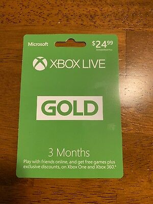 Microsoft Xbox Live Gold 3 Month Subscription, Membership Card, *NEW*