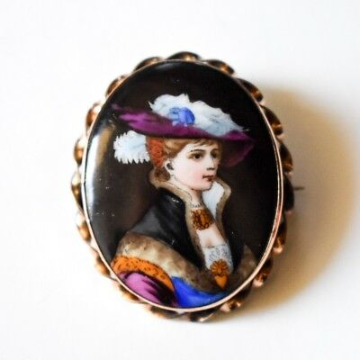 Victorian Hand Painted Portrait of Woman Gold Brooch Antique