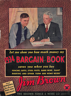 Vtg 1934 JIM BROWN BARGAIN BOOK CATALOG WIRE FENCE ROOFING STOVES FLOWERS on CD