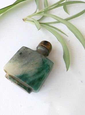 Ancient Chinese Natural Emeralds Green and white Jade Snuff Bottle  A+++++++++++