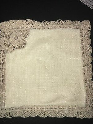 "Vintage Lot Set of 12 French Lace And Linen Napkins Floral Motif 5 1/2"" Square"