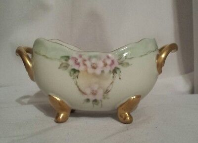 Vintage Hand Painted footed Sugar Bowl Green w/ Pink Roses & Gold Trim