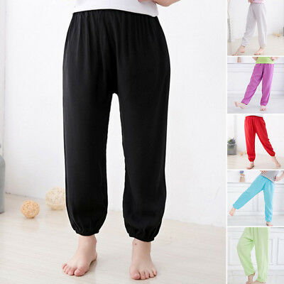 Kids Boys Girls Loose Harem Long Trousers Dance Pants Plain Leggings Age 2-8Y