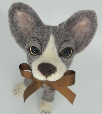 NEEDLE FELTED Art Doll Chi Chihuahua Puppy Butterfly Dog-Artist-by Sarah Flynn