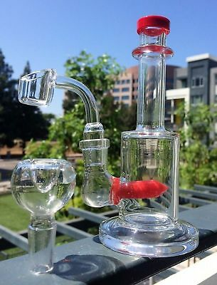 "Collectible Tobacco Glass Water Pipe Bong Bubbler Hookah Rig 6"" w Banger + Bowl"